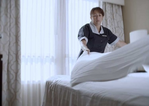"Still photo from ""Just one hotel"" BCCA Worksafe BC TV commercial"