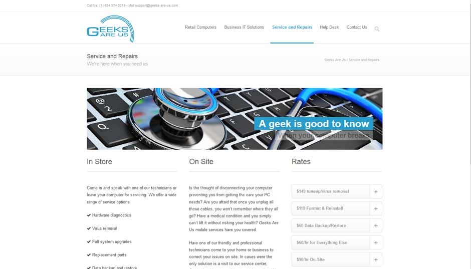 geeks are us website services sample page