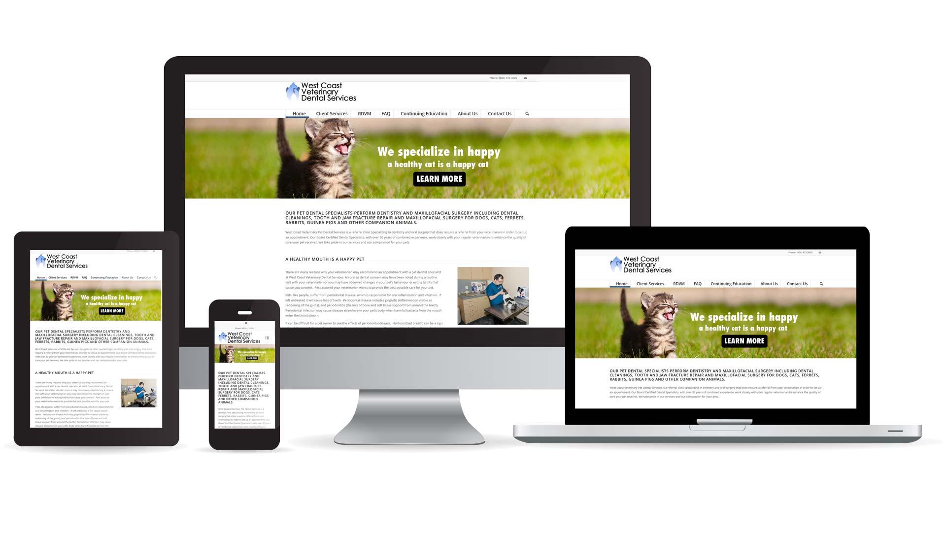 West Coast Veterinary Dental Services website multidevice layout