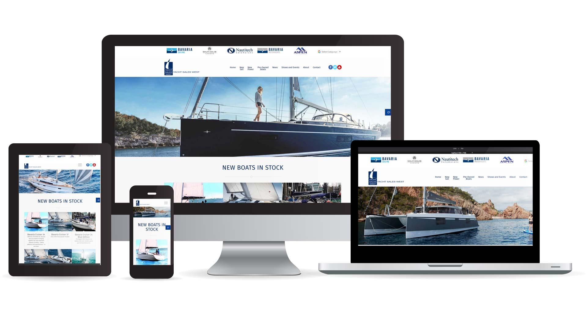 Yacht Sales West website multidevice layout